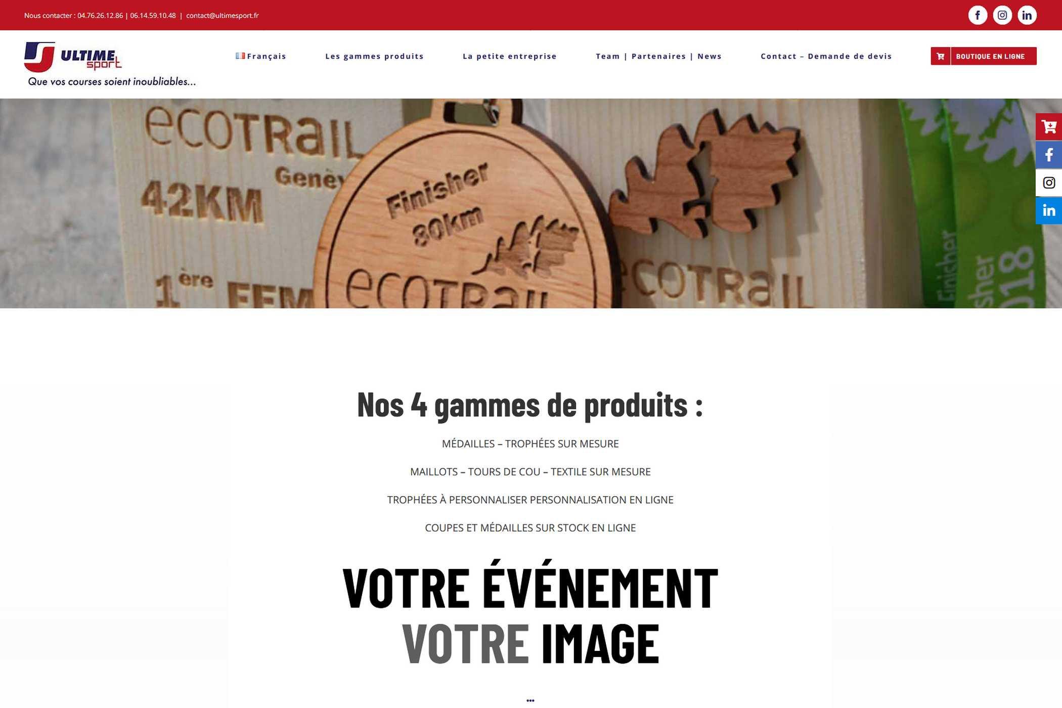 Capture d'écran du site internet Ultime Sport